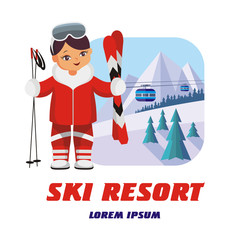 The  vector image of the skier in the background of a winter mountain landscape.