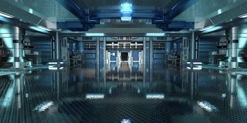 Sci-Fi space station interior 3d illustration
