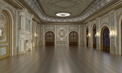 3d render of luxury grand hall interior