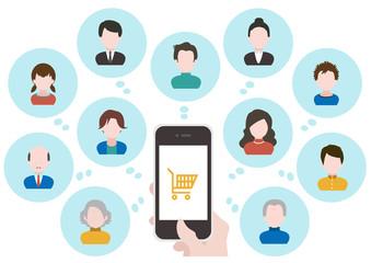 イラスト素材 オンラインショッピング 人々