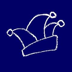 Narrenkappe Fasching Karneval Rosenmontag 11.11. -  Symbol  blau weiß Kreidezeichnung handgezeichnet