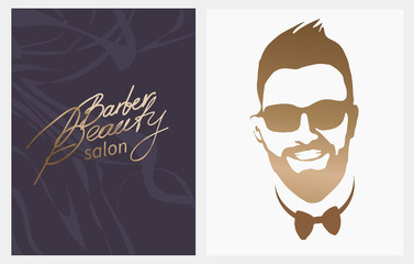 Beauty Barber salon.beard,mustache,hairstyle.Hipster barbershop european man with beards moustaches,stylish haircut,silhouette of a man,face in profile, lettering. banner,poster,flyer,isolated vector
