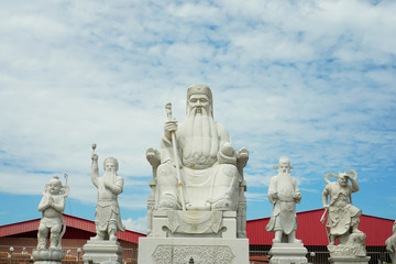 Chinese god statues in Chinese temple,Perak Malaysia with blue sky background