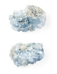 Celestine blue crystals on white background.