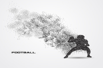 football player of a silhouette from particle