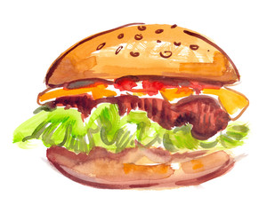 Big single hamburger with lettuce, cheese and sesame seed buns painted in watercolor on clean white background