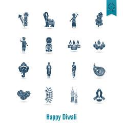 Diwali. Indian Festival Icons
