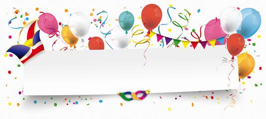 Fasching Header Mit Luftballons Konfetti Und Luftschlangen