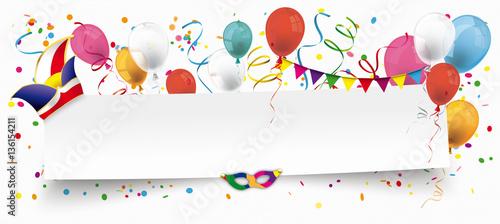 Fasching Header Mit Luftballons Konfetti Und Luftschlangen Stock
