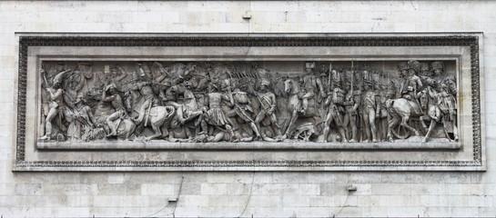 Ornamental sculptures on Arch of Triumph. Paris, France