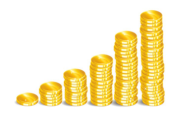 Gold coins. Stacks of golden coins. Money isolated on a white