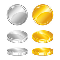 Gold and silver coins in different positions on white background