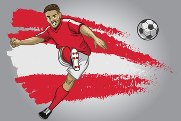 Austria soccer player with flag as a background