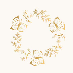 Golden wreath with butterfly. Vector illustration. Isolated.