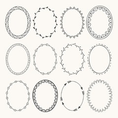Oval photo frames. Doodle style. Vector illustration.