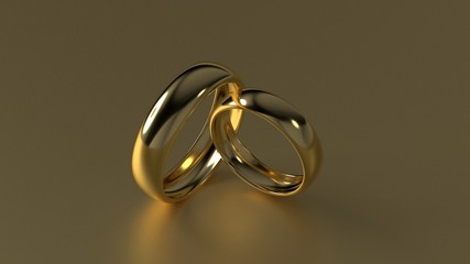 The beauty golden wedding ring on gold background. 3d rendering