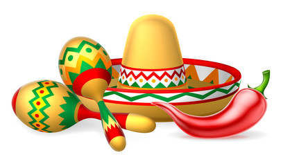 Mexican Sombrero Maracas and Chilli Pepper