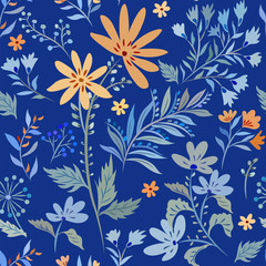 Seamless pattern with abstract elements of meadow flowers on a blue background.