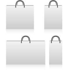 White paper shop bags of different sizes
