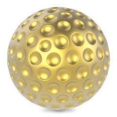 Golden golf ball isolated on white background.