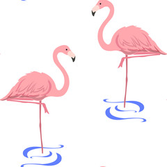 pattern with flamingos stand in water