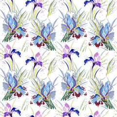 Seamless pattern with floral ornament, irises in a grunge style, abstract flowers irises.
