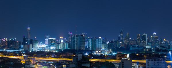Panorama bangkok city at night