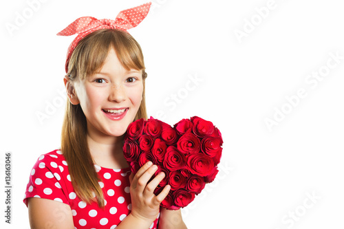 """Studio Shot Of Young Little 9-10 Year Old Girl, Wearing"