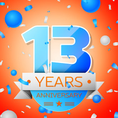 Thirteen years anniversary celebration on orange background. Anniversary ribbon
