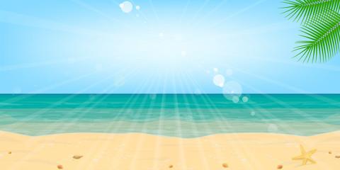 Beach, sea, sand, water, sun. Landscape, background. Vector