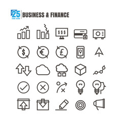 icons Business line black finance graph Teamwork success bank transfer money on white background