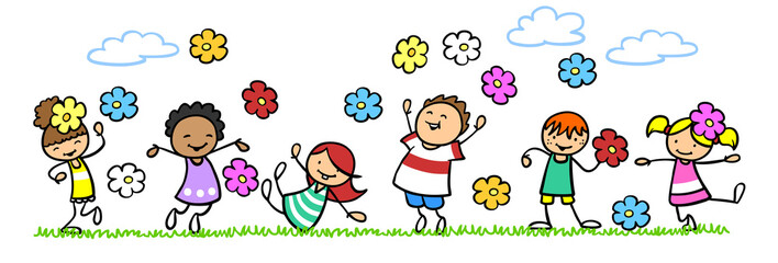 Viele Kinder in der Natur mit bunten Blumen