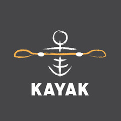 kayak logo created in tribal style
