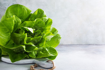 Head of fresh organic lettuce salad on marble cutting board on light gray stone background. Healthy food concept with copy space.