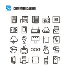 icons communication Newspaper radio television phone Check-in camera vector on white background