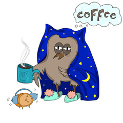 Early morning time. Cute owl with cup of coffee and alarm clock in its hands. Vector