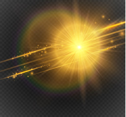 Vector golden special effect. Glowing streaks on transparent background. Beautiful glow light lens flare and spark.