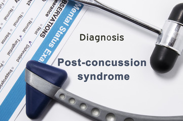 Diagnosis of Post-Concussion Syndrome. Two neurological hammer, result of mental status exam and name of neurologic psychiatric diagnosis Post-Concussion Syndrome on white background or doctor table