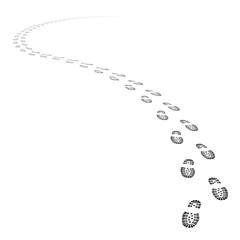 Vector shoe tracks footpath