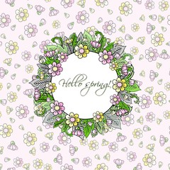 Hello spring greeting card. Hand drawn illustration.