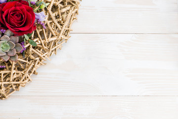 floral background with fresh flowers and place for text