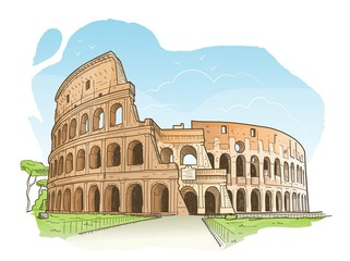 Vector illustration of the Colosseum in Rome in hand drawn sketch style Fototapete