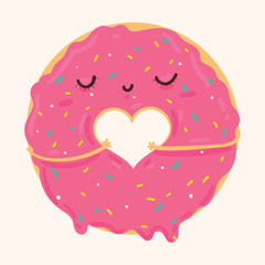 Vector illustration of cute pink icing cartoon donut with heart and face, can be used for valentine's day greeting cards, party invitations, posters, prints and books