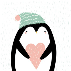 Valentines day card with cute flat penguin with a hat holding a heart. Perfect for greeting cards, postcards, prints