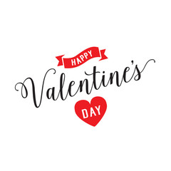 Happy Valentines Day Lettering and Ribbon