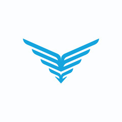 Blue abstract wings logo element template for website and marketing promotions. Geometric logo. Triangle and arrow logo symbol template.