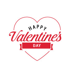 Happy Valentines Day Lettering in Heart