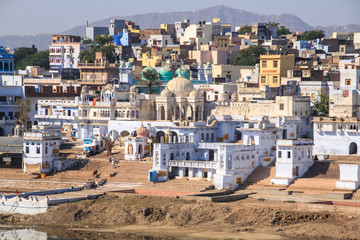 Ghats of Pushkar Lake. India