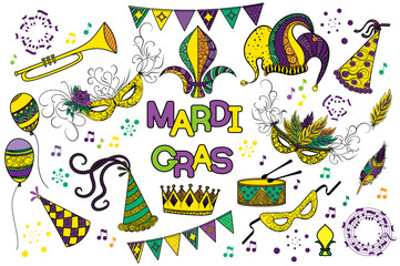 Mardi Gras or Shrove Tuesday colorful design element set. Mardi Gras carnival mask and hats, jester s hat, crowns, fleur de lis, feathers, party decorations. Vector illustration, clip art collection