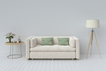 Interior with sofa, plants and lamp on empty white wall background. 3D rendering.